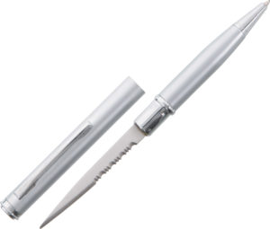 China Made Ink Pen Knife Silver (2.25″)