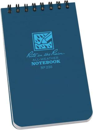 Rite in the Rain Top Spiral Notebook 3×5 Blue