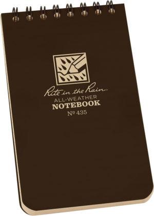 Rite in the Rain Top Spiral Notebook 3×5 Brown