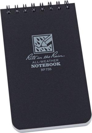 Rite in the Rain 3 x 5 Top Spiral Notebook Blac