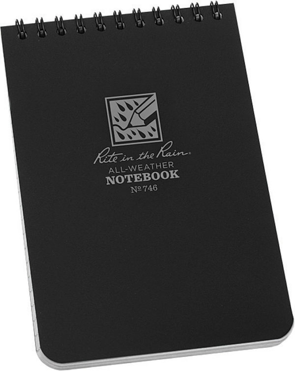 Rite in the Rain Top Spiral Notebook Black