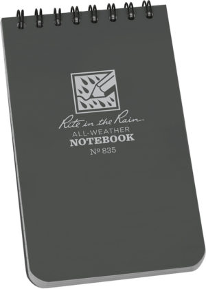 Rite in the Rain Top Spiral Notebook 3×5 Gray