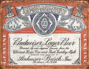 Tin Signs Budweiser Weathered