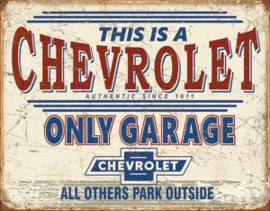 Tin Signs Chevy Only Garage