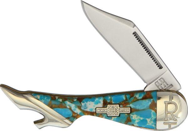 Rough Ryder Leg Knife Amber Turquoise