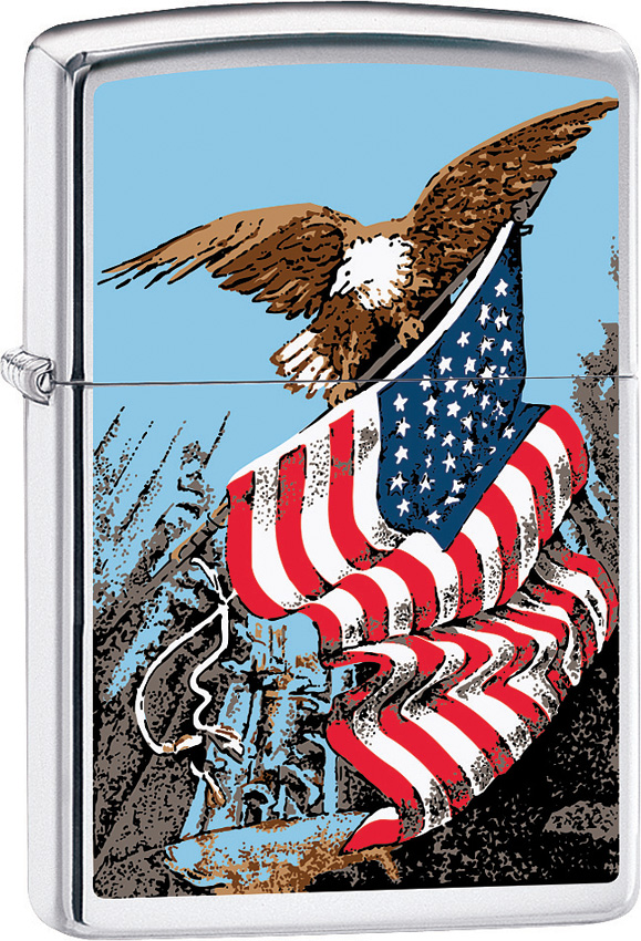 Zippo Eagle with Flag Lighter