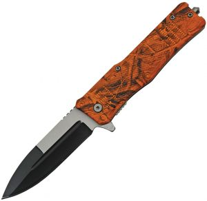 China Made Camo Linerlock A/O Orange (4″)