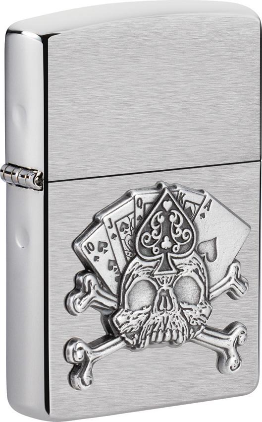 Zippo Card Skull Emblem Lighter