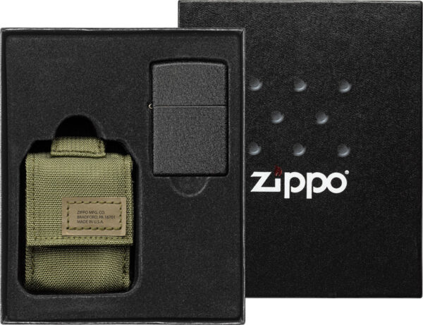 Zippo Lighter with MOLLE Green Pouch